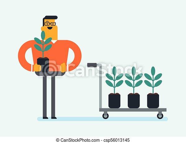 aanplant, jonge, boom., wite kaukasiër, tuinman - csp56013145