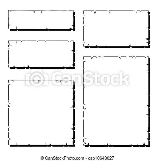 afgescheurde, set, oud, frame, papier, witte , schaduw - csp10643027