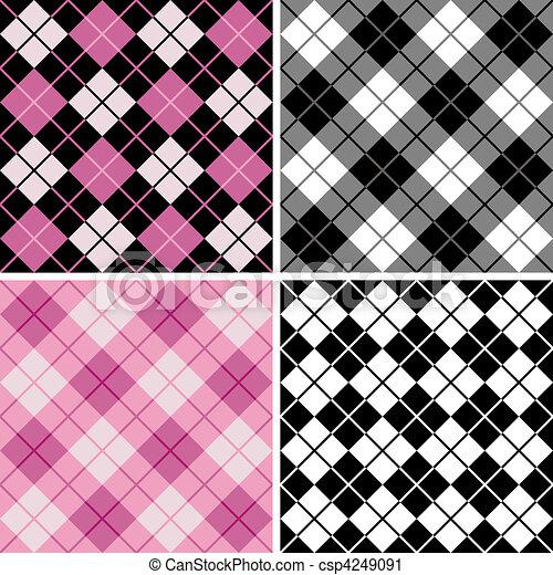 black-pink, argyle-plaid, model - csp4249091