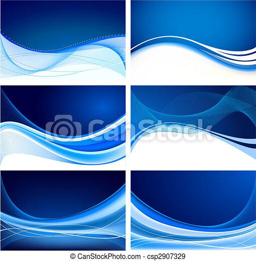 blauwe , abstract, set, achtergrond, vector - csp2907329