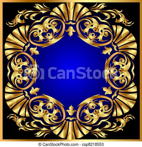 blauwe achtergrond, gold(en), cirkel, ornament - csp8218553