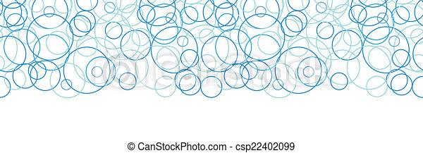 blauwe , cirkels, model, abstract, seamless, vector, achtergrond, horizontaal, grens - csp22402099