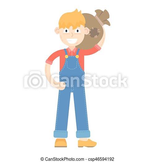 blauwe , jumpsuit, geklede, houdt, jonge, zak, farmer - csp46594192