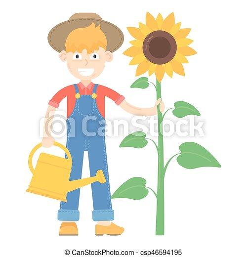 blauwe , jumpsuit, over, zonnebloem, geklede, watering, stander, farmer, hoedje, groenteblik - csp46594195