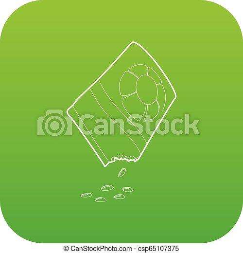 bloem, zak, vector, groene, zaden, pictogram - csp65107375