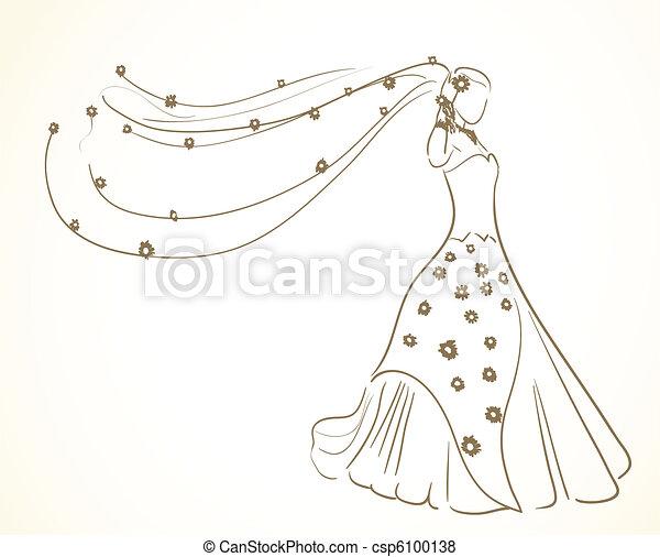 bloemen, jurkje, sluier, trouwfeest - csp6100138