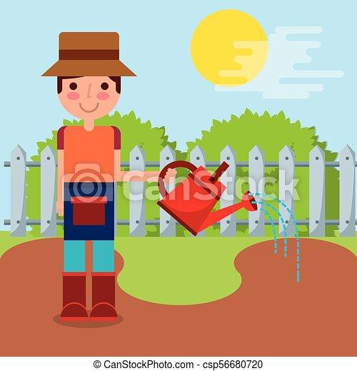 boerderij, jongen, werken, tuinman - csp56680720