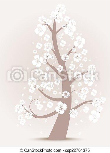 boompje, bloem, silhouette - csp22764375
