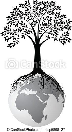 boompje, silhouette, aarde - csp5898127