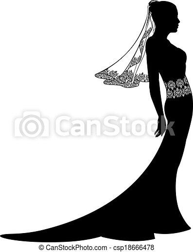 bruid, jurkje, silhouette, trouwfeest - csp18666478