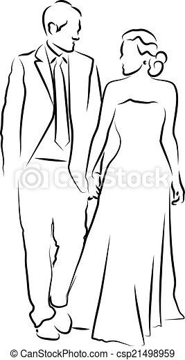 bruidegom, bruid, hun, trouwfeest - csp21498959