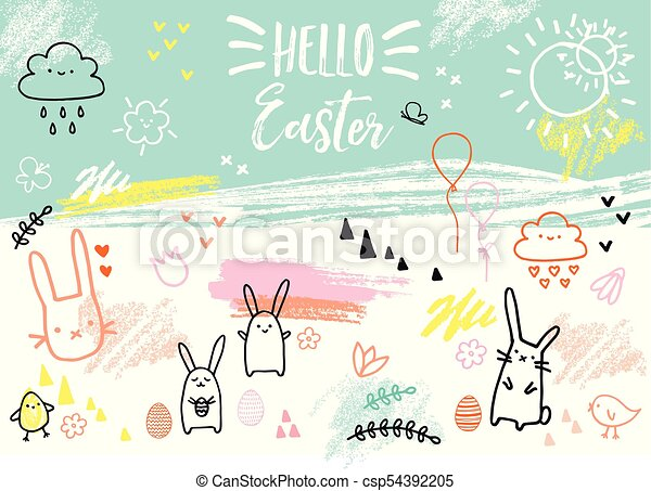 bunnies, hand-drawn, vector, pasen, kaart - csp54392205