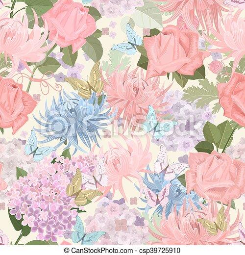 butterflies., m, seamless, textuur, delicaat, floral, bloemen - csp39725910