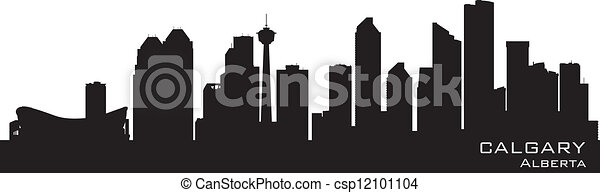 canada, calgary, gedetailleerd, silhouette, skyline. - csp12101104