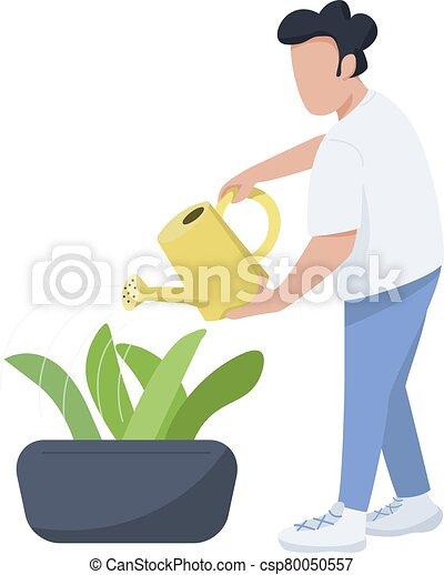 care, plat, web, vrijstaand, mannelijke , character., spotprent, animatie, groenteblik, tuinman, ontwerp, planten, horticulturist, vector, anoniem, illustratie, man, grafisch, watering, kleur, flowerbed - csp80050557