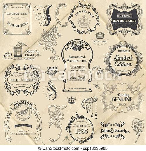 communie, versiering, frame, verzameling, calligraphic, vector, ontwerp, ouderwetse , bloemen, pagina, set: - csp13235985