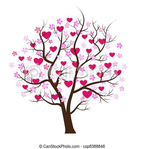 concept, liefde, boompje, valentijn, vector, dag - csp8388848