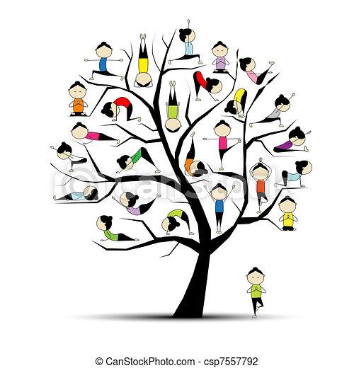 concept, yoga, praktijk, boompje, ontwerp, jouw - csp7557792