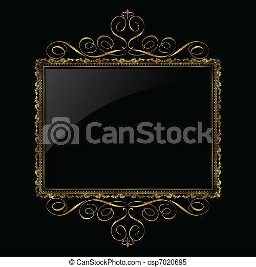 decoratief, frame, black , goud - csp7020695