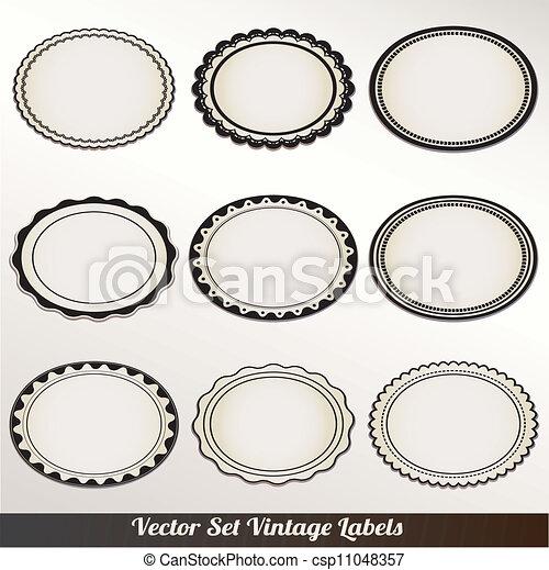 decoratief, frame, vector, set, ouderwetse  - csp11048357