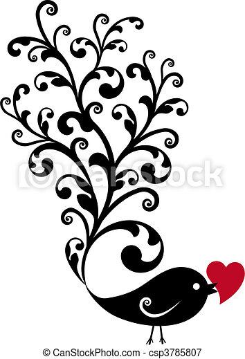 decoratief, vogel, rood hart - csp3785807