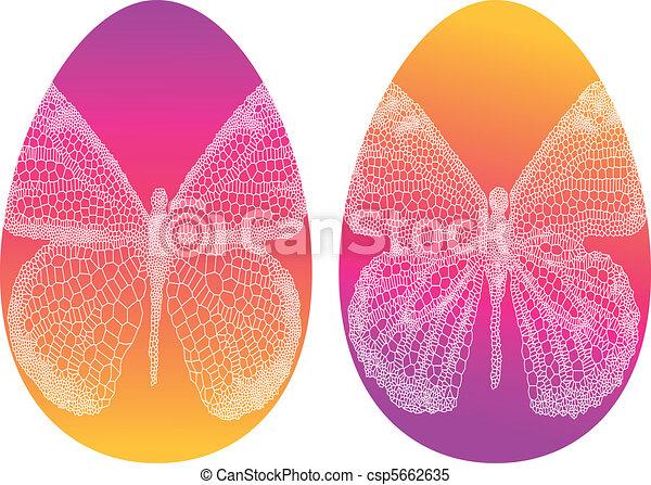 eitjes, vector, pasen, vlinder - csp5662635