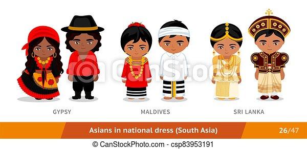 ethnische , malediven, zigeuner, nationale, clothing., lanka., set, dress., aziatische mensen, sri, mannen, vervelend, vrouwen - csp83953191