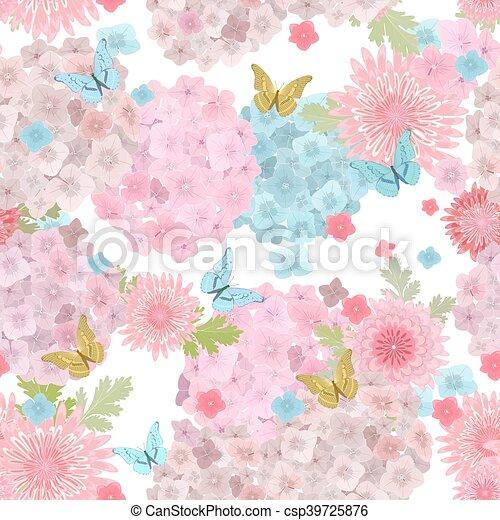 f, butterflies., seamless, textuur, delicaat, floral, bloemen - csp39725876