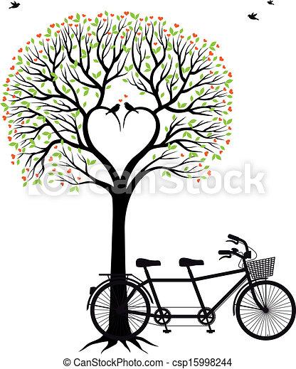 fiets, hart, boompje, vogels - csp15998244
