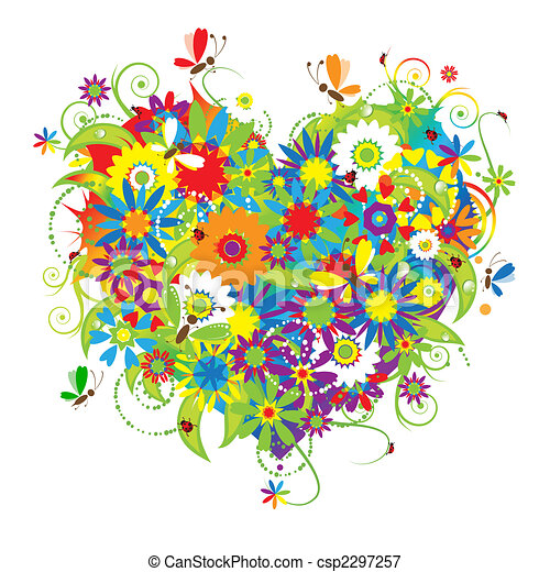 floral, hart, liefde, vorm - csp2297257