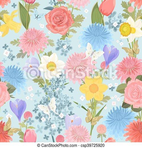 floral ontwerpen, seamless, textuur, delicaat - csp39725920