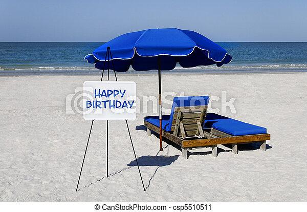 gelukkige verjaardag, strand voorteken - csp5510511