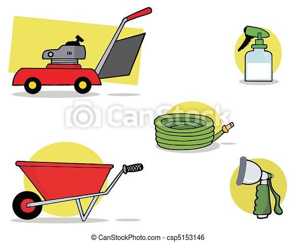 gereedschap, tuinieren, digitale , collage - csp5153146