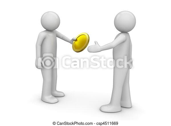 geven, munt, anderen, man - csp4511669