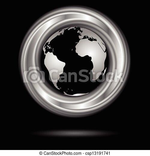 globe., abstract, vector, ontwerp, ring, zilver - csp13191741