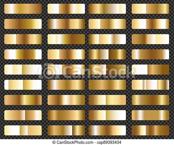 goud, groot, set, metalen, gradients, achtergrond, transparant - csp89393434