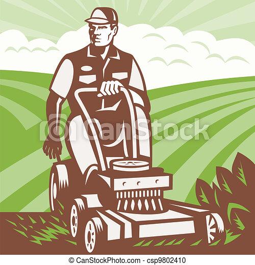 grasmaaimachine, retro, paardrijden, landscaper, tuinman - csp9802410
