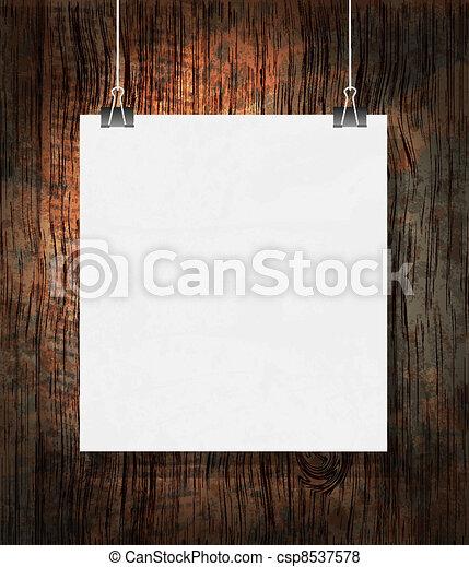 grunge, leeg, donker, achtergrond., papier, clips. - csp8537578