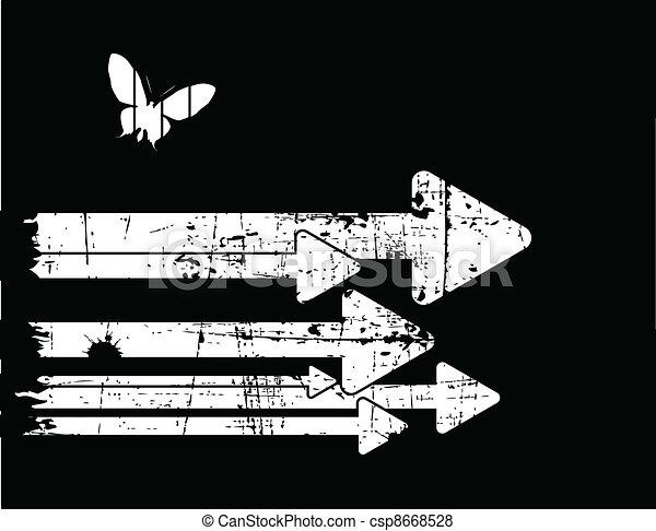 grunge, vector, black , retro, achtergrond, witte  - csp8668528