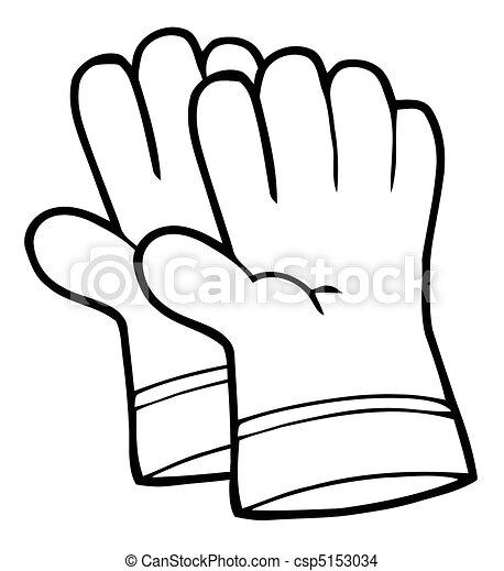 handschoenen, hand, tuinieren, schets - csp5153034