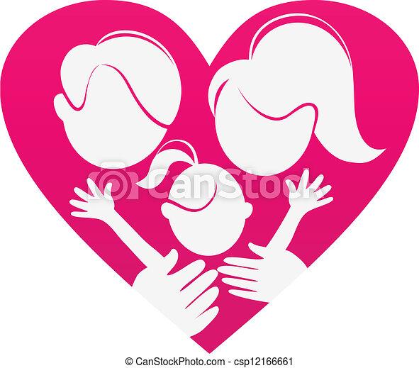 hart, silhouette, gezin, abstract, gezin, sign-love - csp12166661