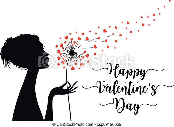 hartjes, vector, valentines, paardenbloem, vrouw, kaart, vasthouden, dag - csp89196659