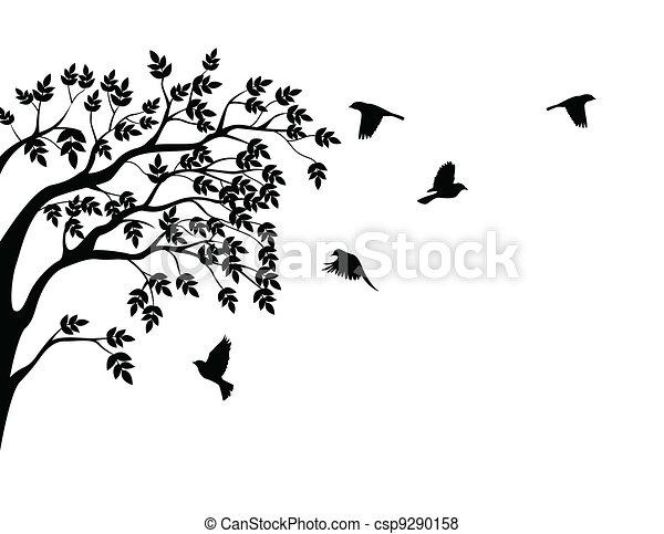 het vliegen van de vogel, silhouette, boompje - csp9290158