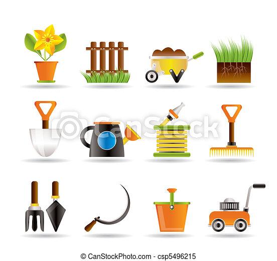 iconen, gereedschap, tuinieren, tuin - csp5496215