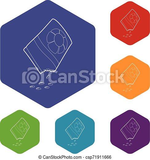 isometric, bloem, stijl, zak, zaden, pictogram, 3d - csp71911666