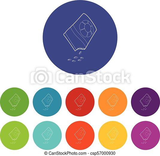 isometric, bloem, stijl, zak, zaden, pictogram, 3d - csp57000930