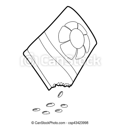 isometric, bloem, stijl, zak, zaden, pictogram, 3d - csp43423998