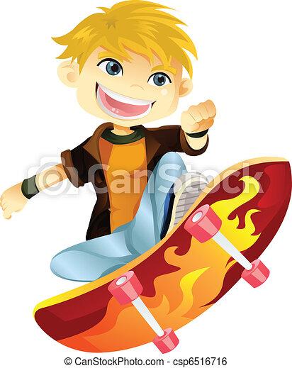 jongen, skateboarding - csp6516716