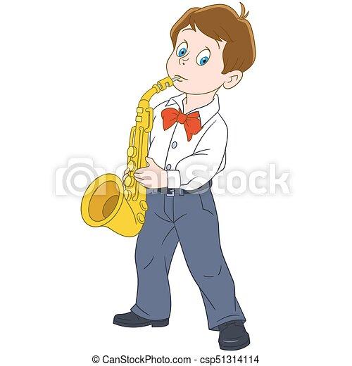 jongen, spotprent, saxophonist - csp51314114