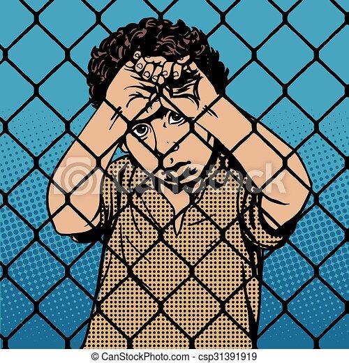jongen, staaf, migrants, vluchteling, kind, achter, gevangenis, grens - csp31391919